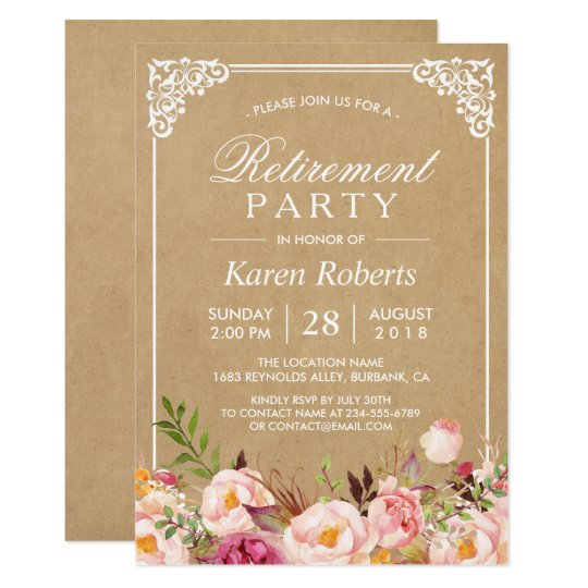 Rustic Floral Frame Kraft | Retirement Party Card