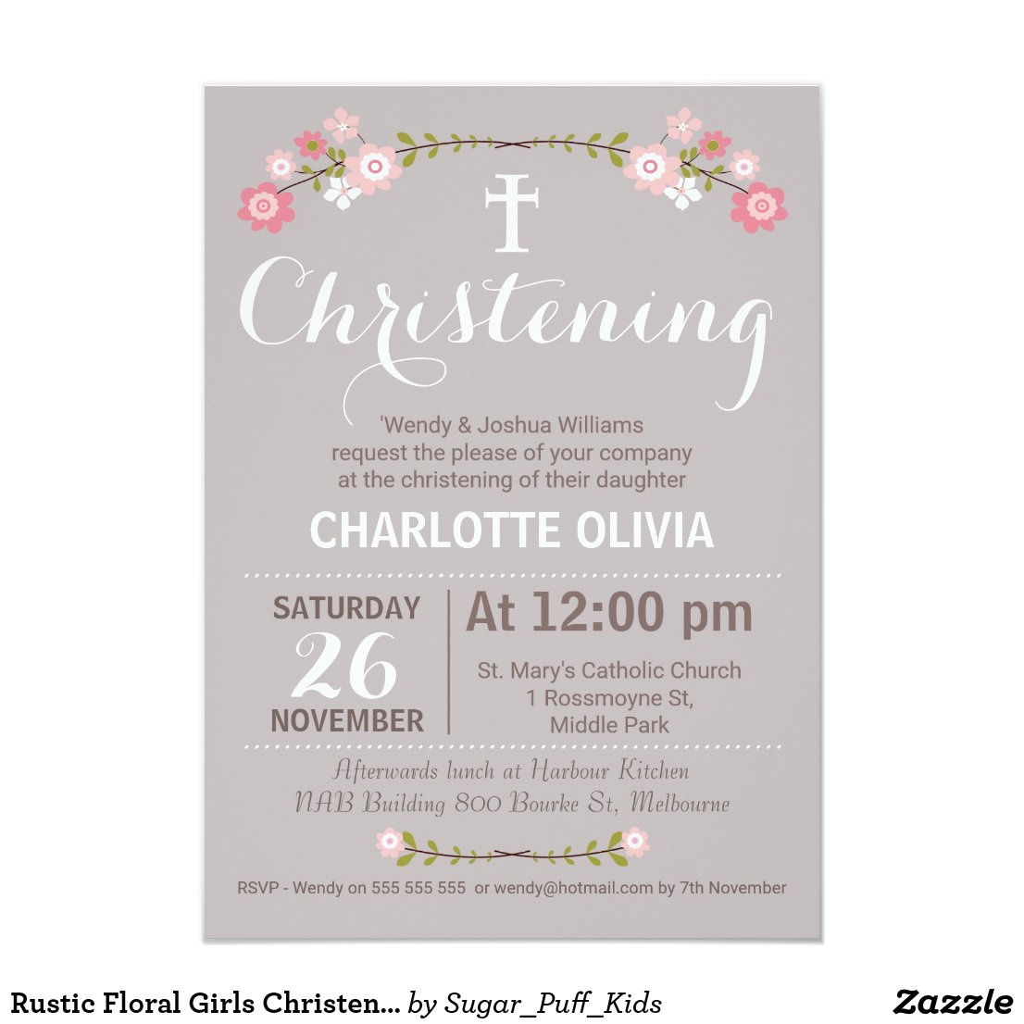 Rustic Floral Girls Christening Invitation