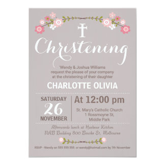 Rustic Floral Girls Christening Invitation
