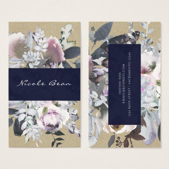 Rustic Floral Glam Navy Kraft Modern Chic Business