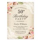 Rustic Floral Ivory Burlap Lace Birthday Party Card