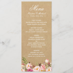 Rustic Floral Kraft | Elegant Chic Wedding Menu