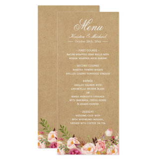 Rustic Floral Kraft | Elegant Chic Wedding Menu Card