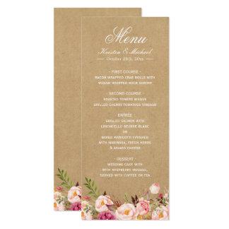 Rustic Floral Kraft | Elegant Chic Wedding Menu Card