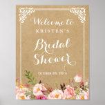 Rustic Floral Kraft Look | Bridal Shower Sign