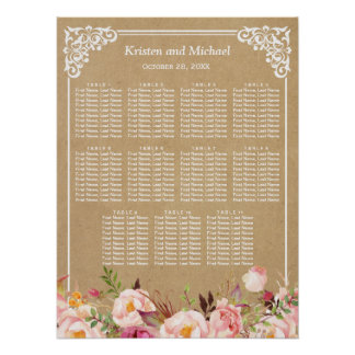 Rustic Floral Kraft Look | Wedding Seating Chart Poster