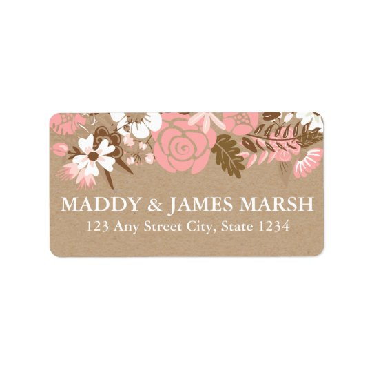 Rustic Floral Kraft Paper Wedding Label