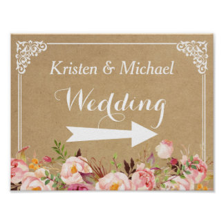 Rustic Floral Kraft | Wedding Direction Sign