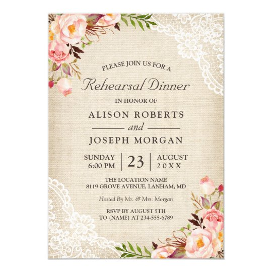 Rustic Floral Lace Burlap Wedding Rehearsal Dinner Card