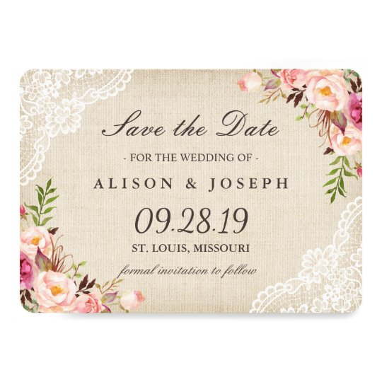 Rustic Floral Lace Ivory Burlap Save the Date