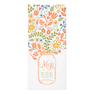 rustic floral mason jar elegant wedding programs custom rack card