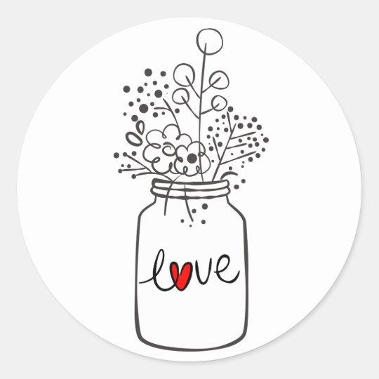 Rustic Floral Mason Jar Flower Black White Wedding