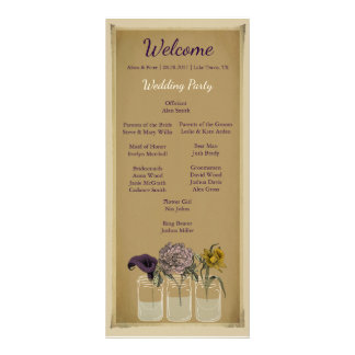 Rustic Floral Mason Jar Wedding Ceremony Program Rack Card