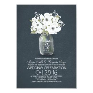 rustic floral mason jar wedding invitation