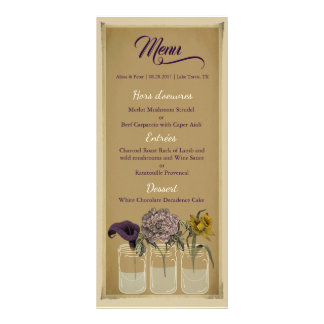 Rustic Floral Mason Jar Wedding Menu Card