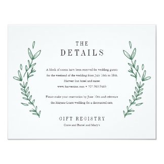 Rustic Floral Monogram Wedding Details Card