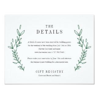 Rustic Floral Monogram Wedding Details Card 11 Cm X 14 Cm Invitation Card