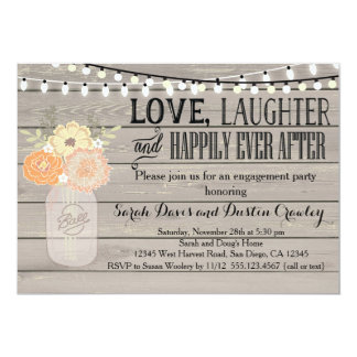 Rustic Floral Orange Engagement Party Invitation