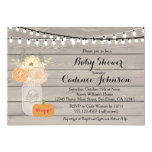 Rustic Floral Orange Pink Girl Baby Shower Invite