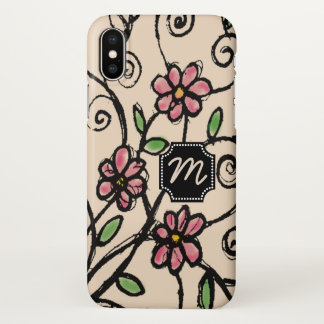 Rustic Floral Pattern Monogrammed iPhone X Case