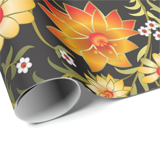 Rustic floral pattern wrapping paper