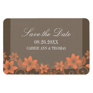 Rustic Floral Save the Date Magnet, Coral