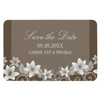 Rustic Floral Save the Date Magnet, Ivory
