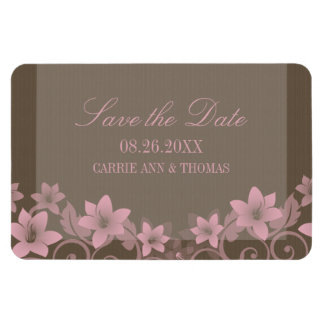 Rustic Floral Save the Date Magnet Pink