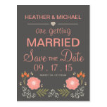 Rustic Floral Save the Date Postcards
