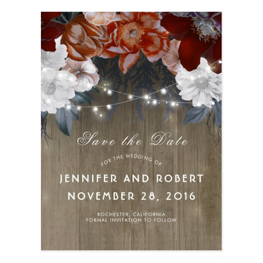 Rustic Floral String Lights Barn Save the Date