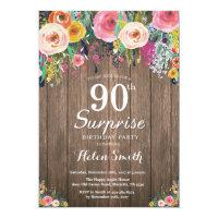 Rustic Floral Surprise 90th Birthday Invitation