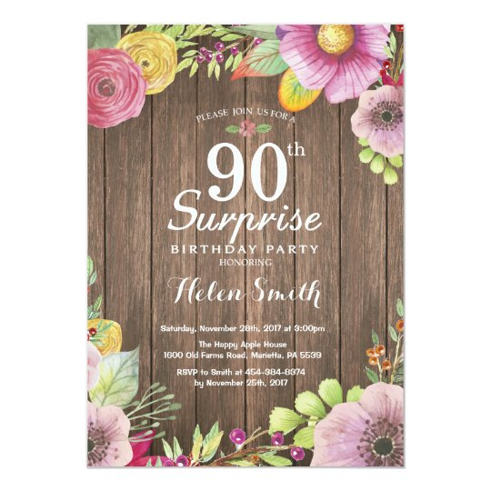 Rustic Floral Surprise 90th Birthday Invitation