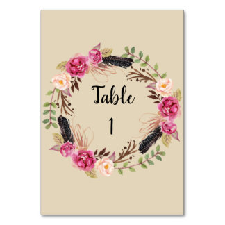 Rustic Floral Table Numbers Boho Table Number Card