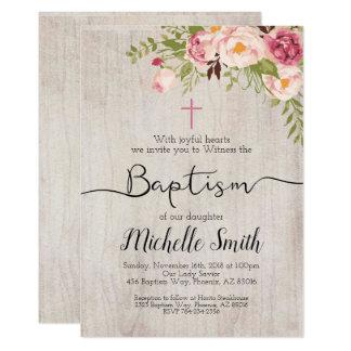 Rustic Floral Vintage Country Script Boho Baptism Card