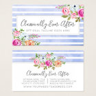 Rustic Floral Watercolor Modern Stripe Shabby Chic Business Card