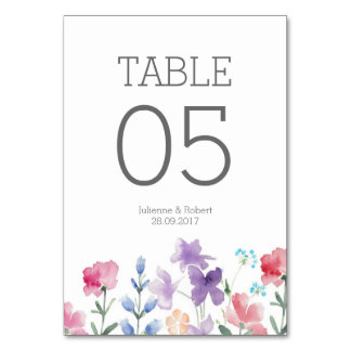 Rustic Floral Watercolor Wedding Table Number