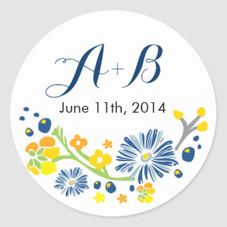Rustic Floral Wedding Circle Sticker Navy