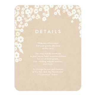 Rustic Floral Wedding Insert Cards | Ecru 11 Cm X 14 Cm Invitation Card