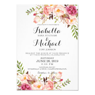 Floral wedding invitations announcements zazzlecouk for Wedding invitations with real flowers