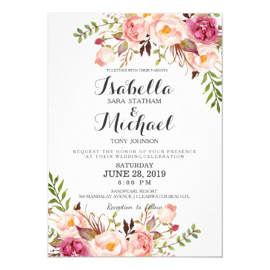 Rustic floral wedding invitation zazzle rustic floral wedding invitation stopboris Choice Image