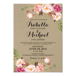 Rustic Floral Wedding Invitation/kraftpaperprintbg Card