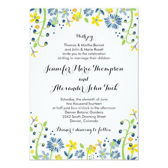 Rustic Floral Wedding Invitation Navy Yellow