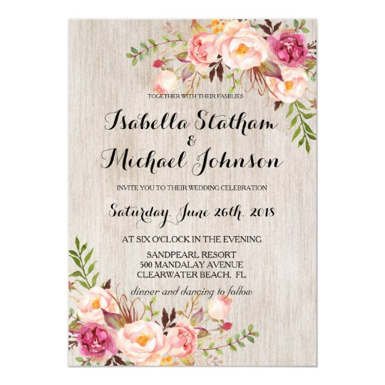 Rustic floral wedding invitation watercolor bg 2 card