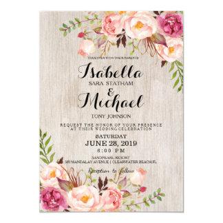 Rustic Floral Wedding Invitation/Watercolor bg Card