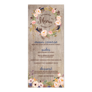 Rustic Floral Wedding Menu Cards