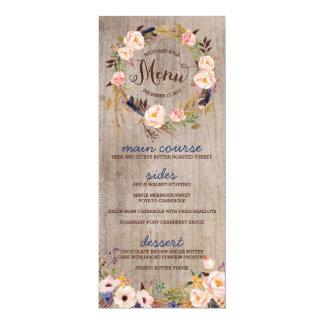 Rustic Floral Wedding Menu Cards 10 Cm X 24 Cm Invitation Card
