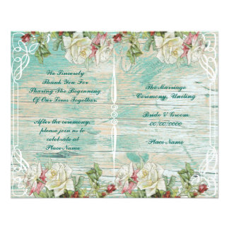 rustic floral wedding program 11.5 cm x 14 cm flyer
