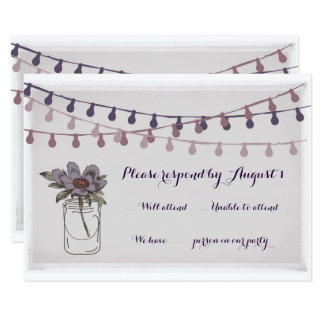 Rustic Floral Wedding RSVP card lavender fawn