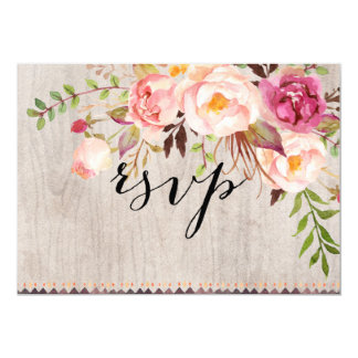 Rustic Floral Wedding RSVP/Double-Sided/WITH MEAL Card