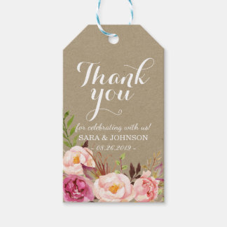 Rustic Floral Wedding Thank You Gift Gift Tags